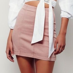 FREE PEOPLE Modern Femme Denim Stretch Mini Skirt